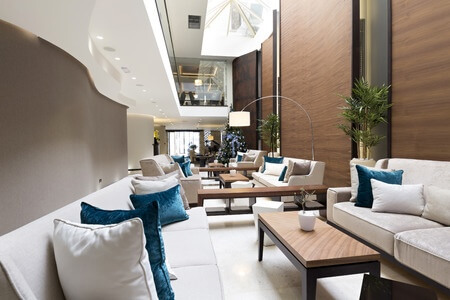 modern tech friendly luxury hotel lobby